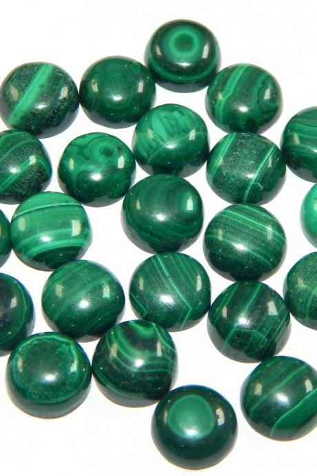 9mm Natural Malachite Cabochon Round 100 Pieces Lot Calibrated Size Top Quality Green Color Loose Gemstone