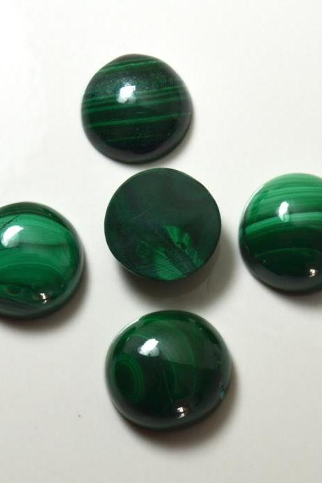 10mm Natural Malachite Cabochon Round 5 Pieces Lot Calibrated Size Top Quality Green Color Loose Gemstone