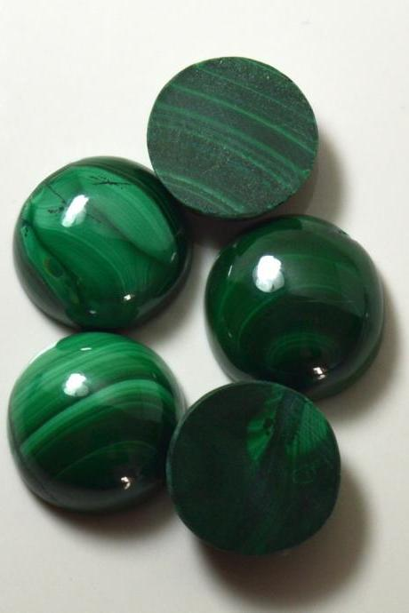 11mm Natural Malachite Cabochon Round 5 Pieces Lot Calibrated Size Top Quality Green Color Loose Gemstone