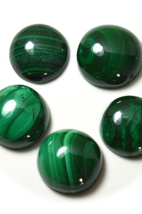15mm Natural Malachite Cabochon Round 2 Piece (1 Pair ) Calibrated Size Top Quality Green Color Loose Gemstone