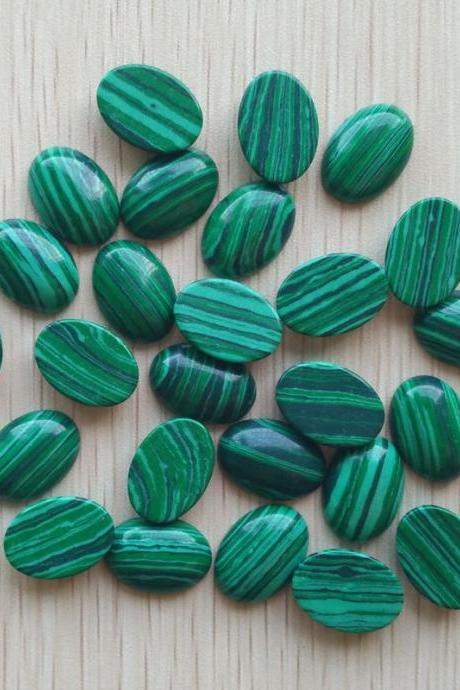 8x6mm Natural Malachite Cabochon Oval 2 Piece (1 Pair ) Calibrated Size Top Quality Green Color Loose Gemstone