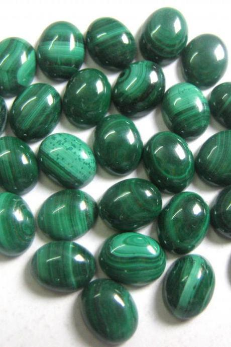 7x9mm Natural Malachite Cabochon Oval 2 Piece (1 Pair ) Calibrated Size Top Quality Green Color Loose Gemstone
