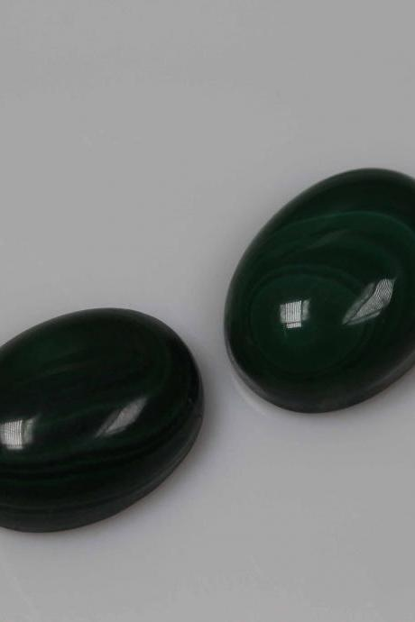 9x11mm Natural Malachite Cabochon Oval 2 Piece (1 Pair ) Calibrated Size Top Quality Green Color Loose Gemstone