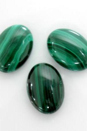 16x12mm Natural Malachite Cabochon Oval 2 Piece ( 1 Pair ) Calibrated Size Top Quality Green Color Loose Gemstone