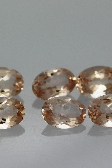 6x4mm Natural Morganite Faceted Cut Oval 1 Piece Calibrated Size Top Quality Peach Color Loose Gemstone Wholesale for sale