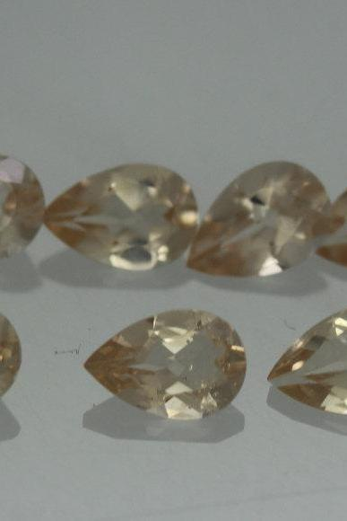 6x4mm Natural Morganite Faceted Cut Pear 2 Piece (1 Pair ) Calibrated Size Top Quality Peach Color Loose Gemstone Wholesale for sale