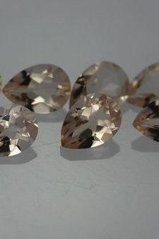 7x10mm Natural Morganite Faceted Cut Pear 5 Pieces Lot Calibrated Size Top Quality Peach Color Loose Gemstone Wholesale for sale