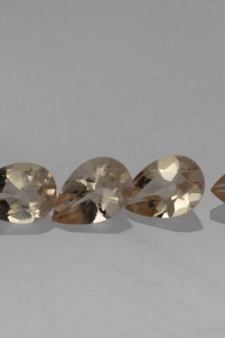 8x11mm Natural Morganite Faceted Cut Pear 1 Piece Calibrated Size Top Quality Peach Color Loose Gemstone Wholesale for sale