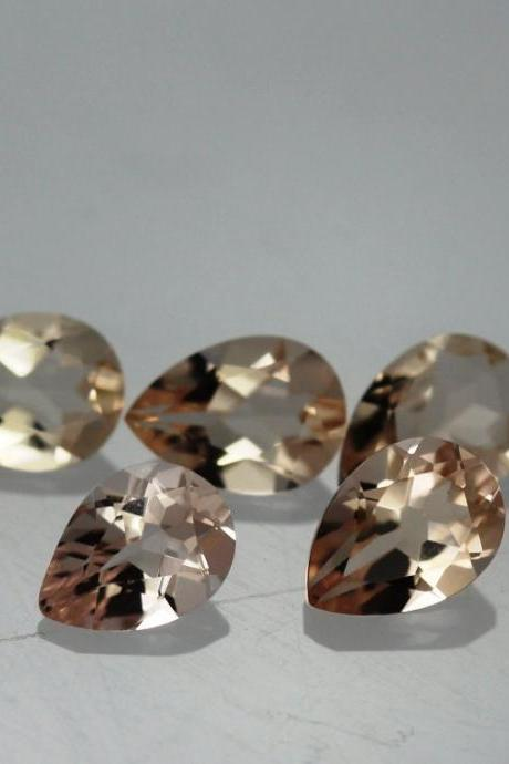 10x12mm Natural Morganite Faceted Cut Pear 1 Piece Calibrated Size Top Quality Peach Color Loose Gemstone Wholesale for sale
