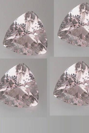 8mm Natural Morganite Faceted Cut Trillion 2 Piece (1 Pair ) Calibrated Size Top Quality Peach Color Loose Gemstone Wholesale for sale