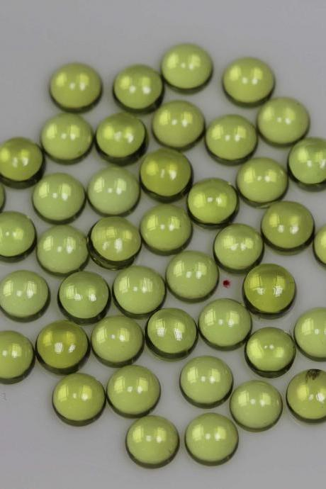 4mm Natural Peridot Cabochon Round 50 Pieces Lot Calibrated Size Top Quality Green Color Loose Gemstone