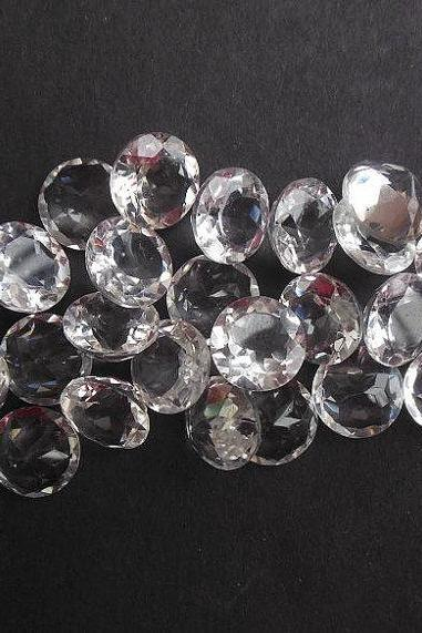 11mm Natural Crystal Quartz Faceted Cut Round 25 Pieces Lot Calibrated Size Top Quality white Color Loose Gemstone