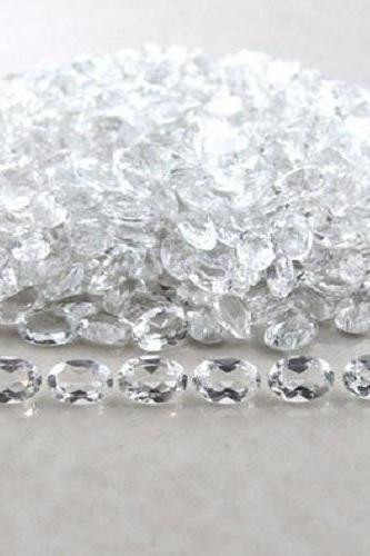 8x6mm Natural Crystal Quartz Faceted Cut Oval 10 Pieces Lot Calibrated Size Top Quality white Color Loose Gemstone