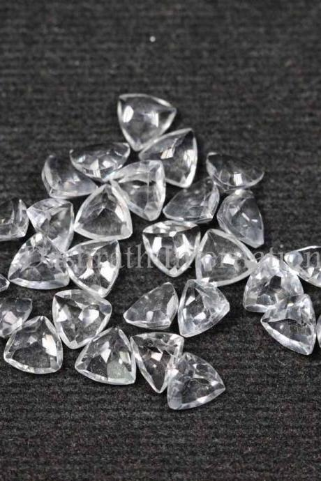 8mm Natural Crystal Quartz Faceted Cut Trillion 2 Piece (1 Pair ) Calibrated Size Top Quality white Color Loose Gemstone
