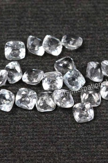 5mm Natural Crystal Quartz Faceted Cut Cushion 5 Pieces Lot Calibrated Size Top Quality white Color Loose Gemstone