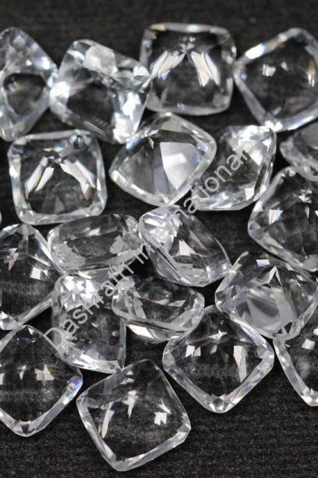 10mm Natural Crystal Quartz Faceted Cut Cushion 2 Piece (1 Pair ) Calibrated Size Top Quality white Color Loose Gemstone