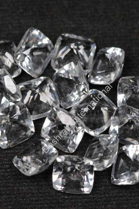 14mm Natural Crystal Quartz Faceted Cut Cushion 2 Pieces (1 Pair) Calibrated Size Top Quality white Color Loose Gemstone
