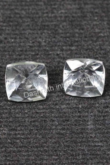 18mm Natural Crystal Quartz Faceted Cut Cushion 2 Pieces (1 Pair) Calibrated Size Top Quality white Color Loose Gemstone