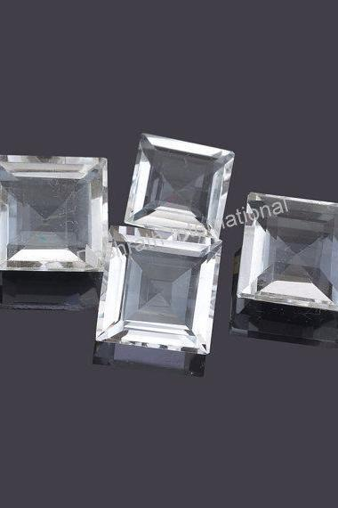 7mm Natural Crystal Quartz Faceted Cut Square 5 pieces Lot Calibrated Size Top Quality white Color Loose Gemstone