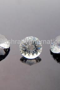 6mm Natural Crystal Quartz Concave Cut Round 2 pieces ( 1 Pair ) Calibrated Size Top Quality white Color Loose Gemstone