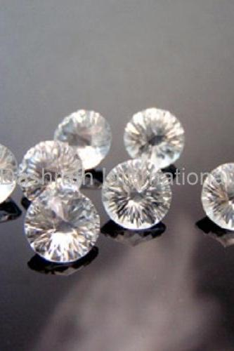 18mm Natural Crystal Quartz Concave Cut Round 2 piece (1 Pair ) Calibrated Size Top Quality white Color Loose Gemstone