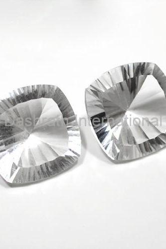 18mm Natural Crystal Quartz Concave Cut Cushion 25 Pieces Lot Calibrated Size Top Quality white Color Loose Gemstone