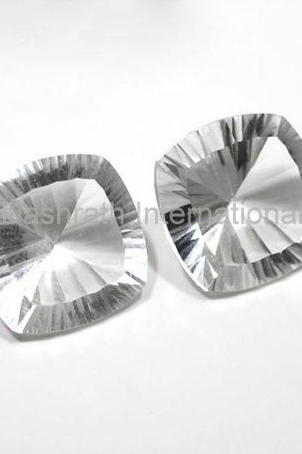 20mm Natural Crystal Quartz Concave Cut Cushion 25 Pieces Lot Calibrated Size Top Quality white Color Loose Gemstone
