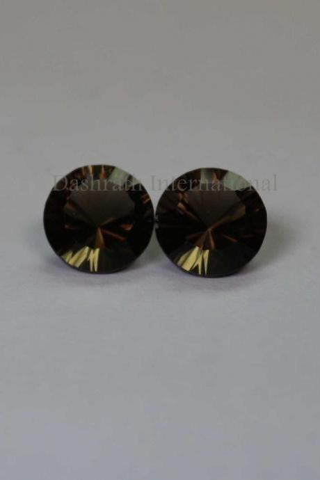 8mm Natural Smoky Quartz Concave Cut Round 2 Piece (1 Pair ) Brown Color Top Quality - Natural Loose Gemstone Wholesale Lot For Sale