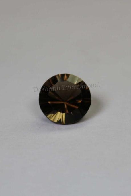 12mm Natural Smoky Quartz Concave Cut Round 1 Piece Brown Color Top Quality - Natural Loose Gemstone Wholesale Lot For Sale