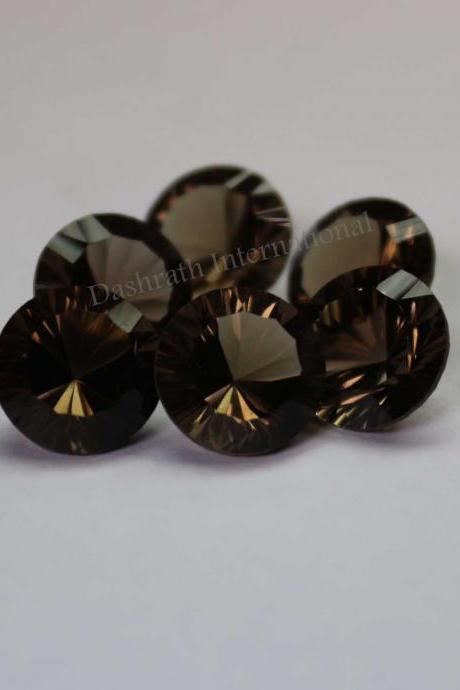 14mm Natural Smoky Quartz Concave Cut Round 100 Pieces Lot Brown Color Top Quality - Natural Loose Gemstone Wholesale Lot For Sale