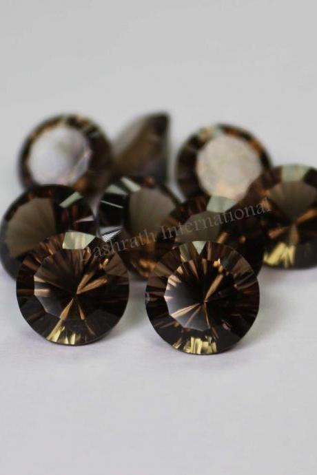 20mm Natural Smoky Quartz Concave Cut Round 10 Pieces Lot Brown Color Top Quality - Natural Loose Gemstone Wholesale Lot For Sale