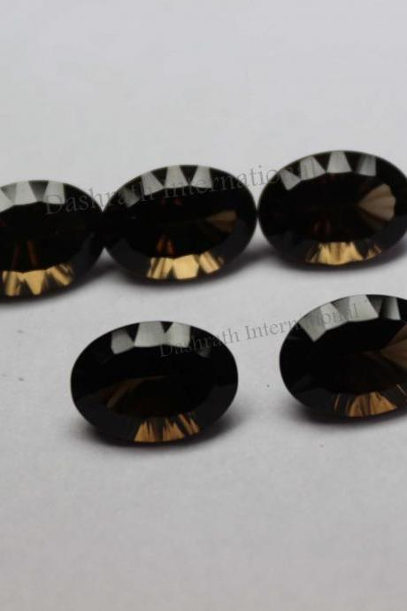 6x8mm Natural Smoky Quartz Concave Cut Oval 5 Pieces Lot Brown Color Top Quality - Natural Loose Gemstone Wholesale Lot For Sale