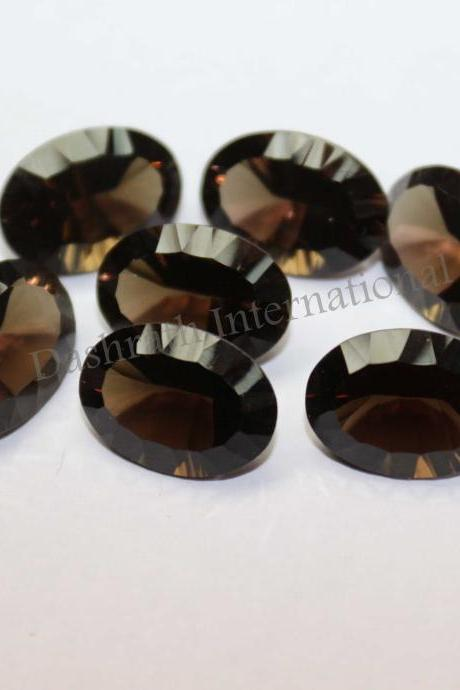 10x14mm Natural Smoky Quartz Concave Cut Oval 2 Piece (1 Pair ) Brown Color Top Quality - Natural Loose Gemstone Wholesale Lot For Sale