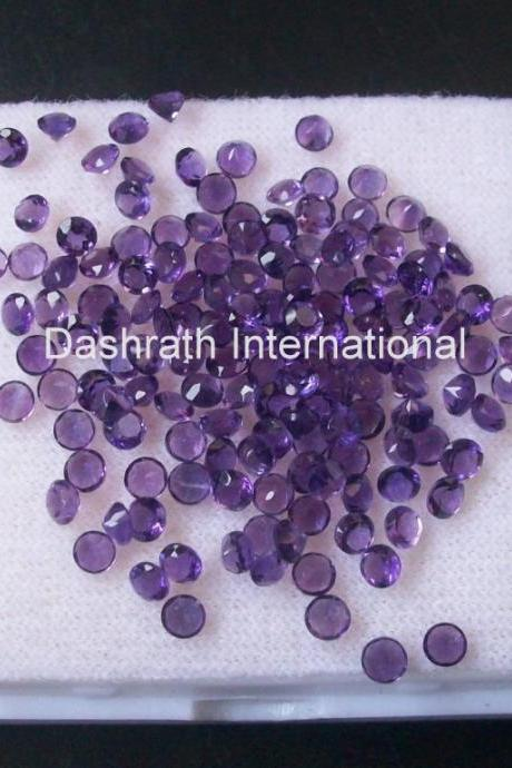 1mm Natural Amethyst Faceted Cut Round 25 Pieces Lot ( AA) Purple Color Top Quality Loose Gemstone
