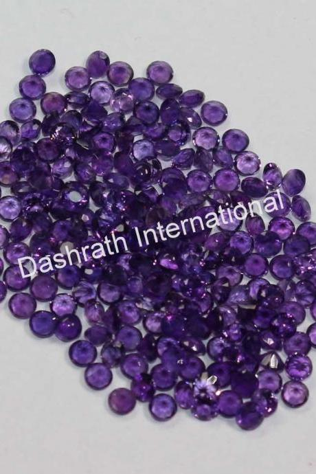 7mm Natural Amethyst Faceted Cut Round 100 Pieces Lot ( AA) Purple Color Top Quality Loose Gemstone