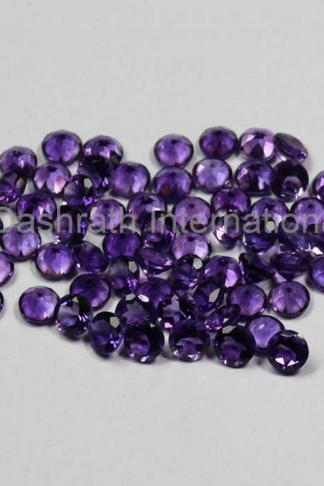 14mm Natural Amethyst Faceted Cut Round 2 Piece (1 Pair ) ( AA) Purple Color Top Quality Loose Gemstone