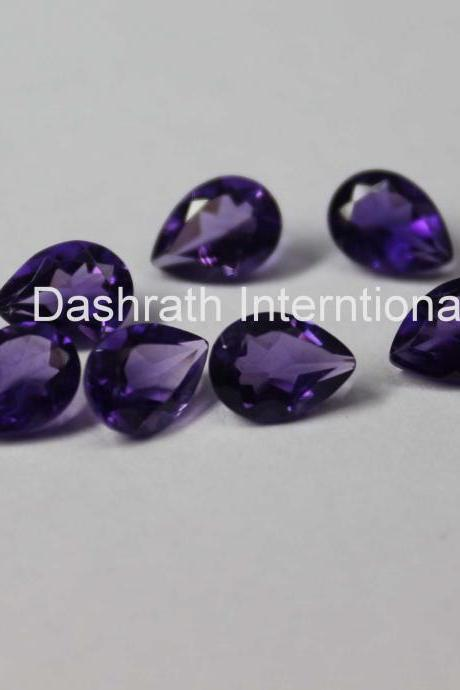 7x10mm Natural Amethyst Faceted Cut Pear 50 Pieces Lot ( AA) Purple Color Top Quality Loose Gemstone