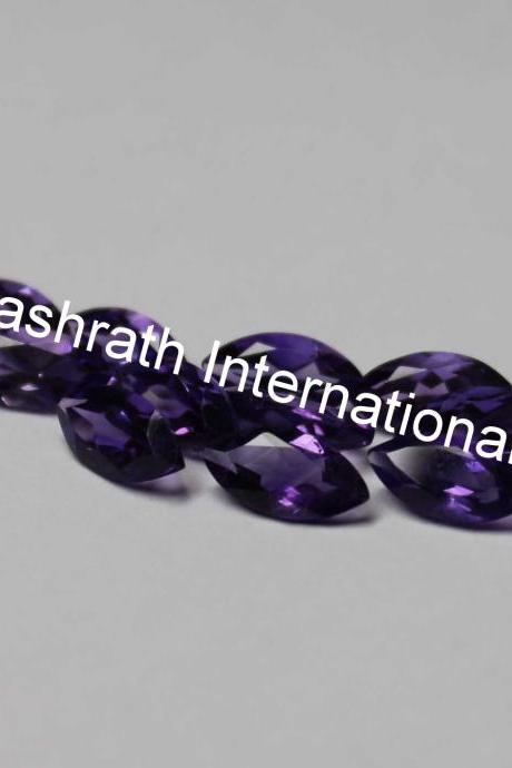14x7mm Natural Amethyst Faceted Cut Marquare 25 Pieces Lot ( AA) Purple Color Top Quality Loose Gemstone