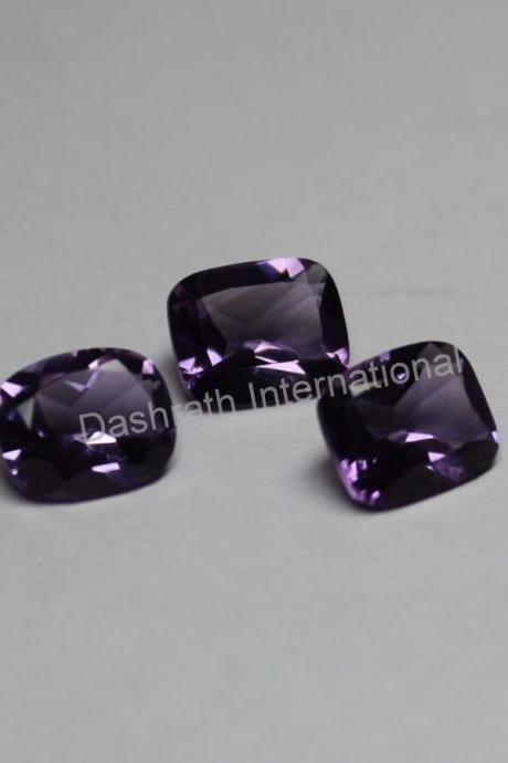 12x10mm Natural Amethyst Faceted Cut Long Cushion 10 Pieces Lot ( AA) Purple Color Top Quality Loose Gemstone