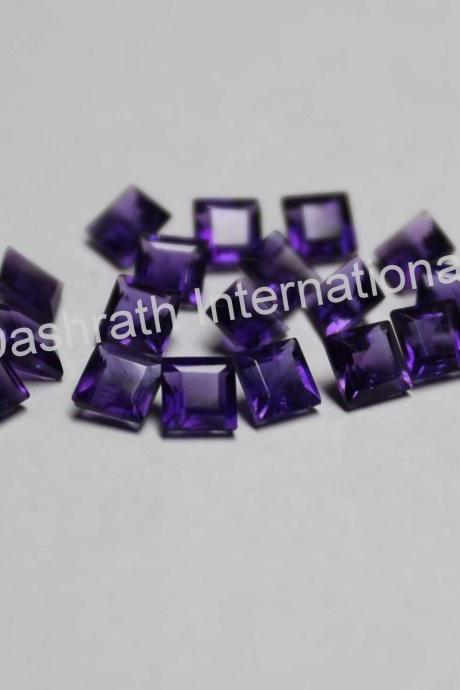 7mm Natural Amethyst Faceted Cut Square 2 Piece (1 Pair ) ( AA) Purple Color Top Quality Loose Gemstone