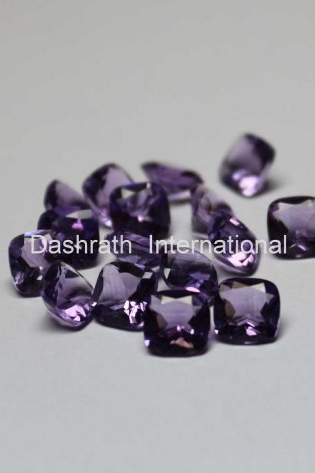 8mm Natural Amethyst Faceted Cut Cushion 2 Piece (1 Pair ) ( AA) Purple Color Top Quality Loose Gemstone