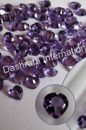 8mm Natural Amethyst Faceted Cut Heart 50 Pieces Lot ( AA) Purple Color Top Quality Loose Gemstone