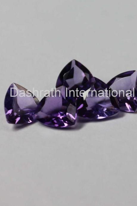 7mm Natural Amethyst Faceted Cut Trillion 100 Pieces Lot ( AA) Purple Color Top Quality Loose Gemstone