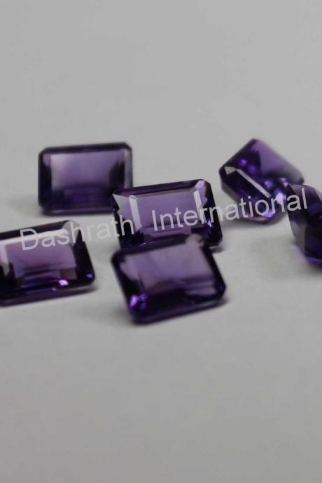 9x7mm Natural Amethyst Faceted Cut Octagon 50 Pieces Lot ( AA) Purple Color Top Quality Loose Gemstone