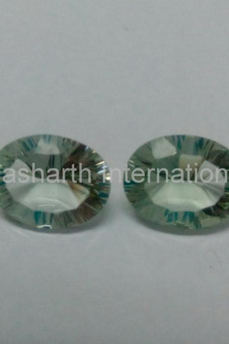 8x10mm Natural Green Amethyst Concave Cut Oval 5 Pieces Lot Green Color Top Quality Loose Gemstone