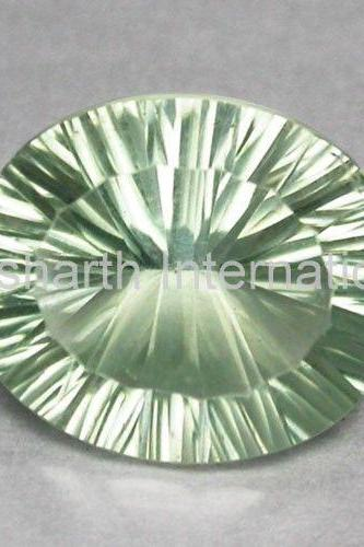 10x12mm Natural Green Amethyst Concave Cut Oval 10 Pieces Lot Green Color Top Quality Loose Gemstone
