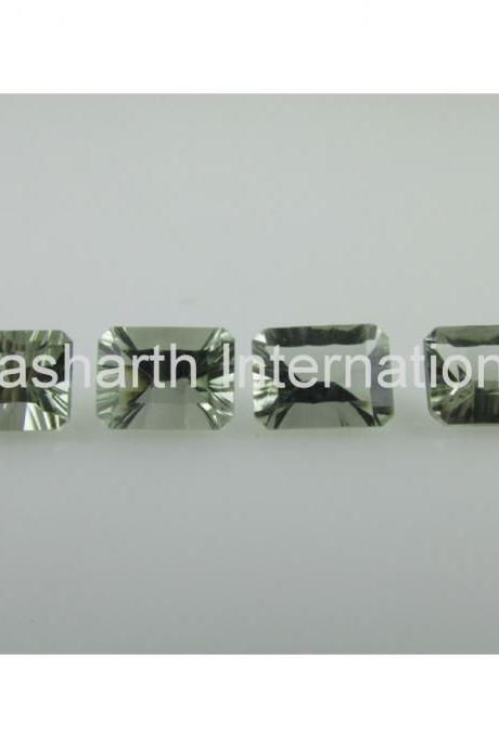 6x8mm Natural Green Amethyst Concave Cut Octagon 2 Piece( 1 Pair) Green Color Top Quality Loose Gemstone