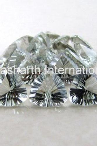 9mm Natural Green Amethyst Concave Cut Trillion 2 Piece (1 Pair ) Green Color Top Quality Loose Gemstone