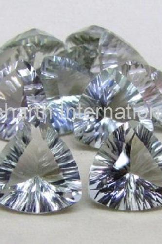 10mm Natural Green Amethyst Concave Cut Trillion 100 Pieces Lot Green Color Top Quality Loose Gemstone