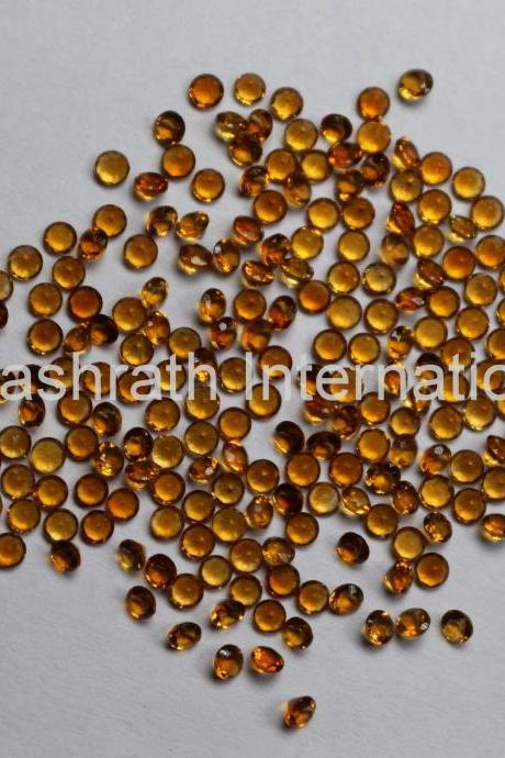 1mm Natural Citrine Faceted Cut Round 5 Pieces Lot Yellow Color (AA) Calibrated Size Top Quality Loose Gemstone